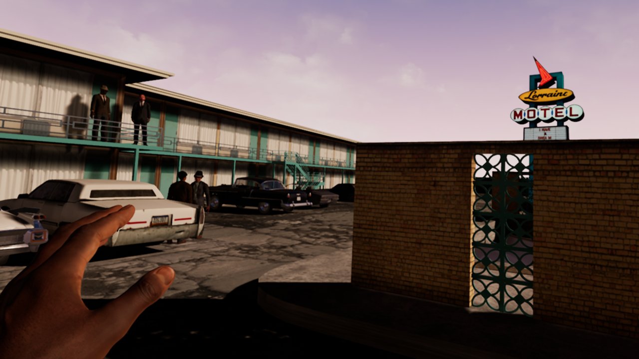 "A screenshot from the ""I Am A Man"" scene outside of the Lorraine Motel."