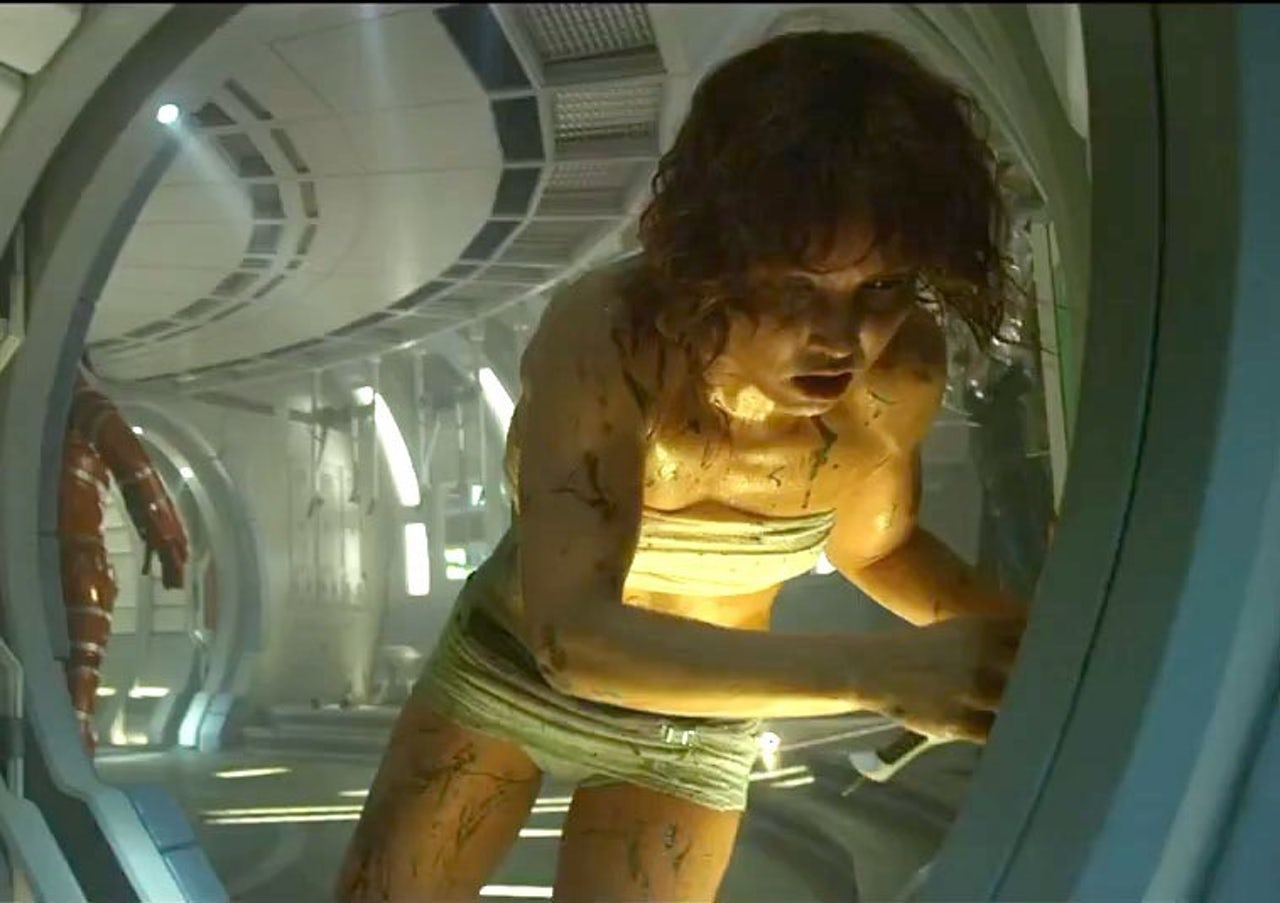 In Prometheus, Elizabeth Shaw stumbles away after giving birth to an alien monster.