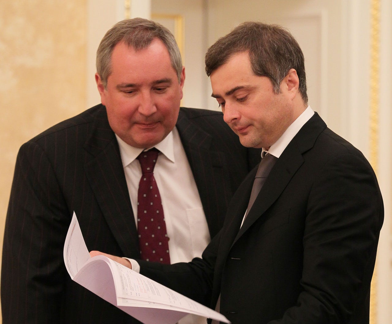 Surkov (right) with Russian politician Dmitry Rogozin