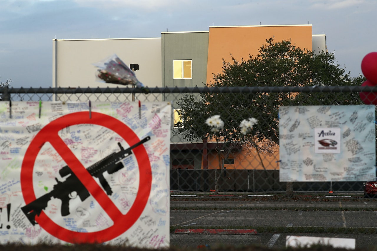 A sign outside the freshman building at Marjory Stoneman Douglas High School, where the shooting took place. The building is set to be demolished.