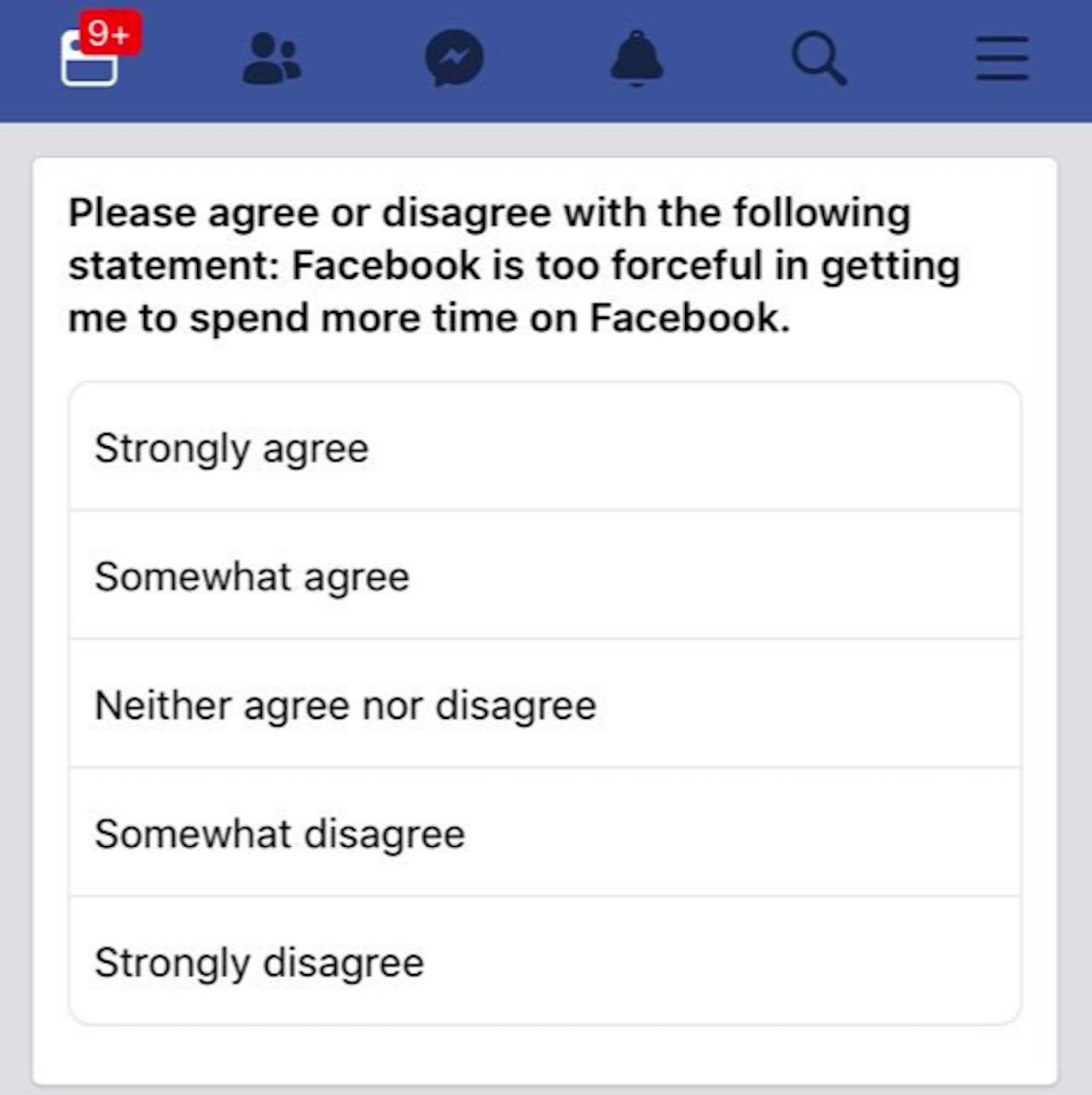 A Facebook survey shown to Nicole Durbin