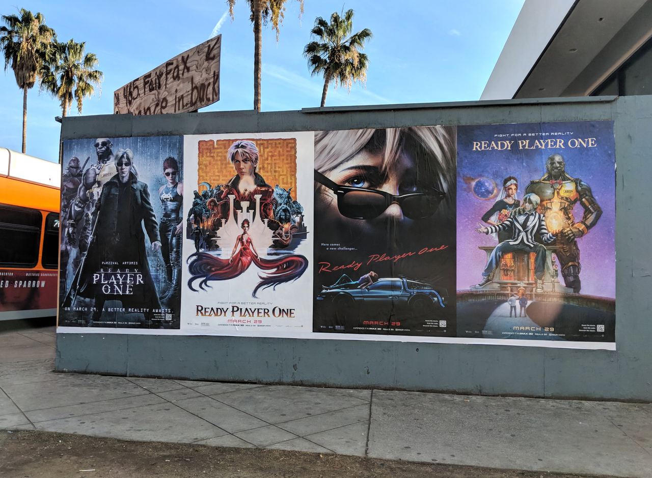 Posters for 'Ready Player One' in Hollywood, California.