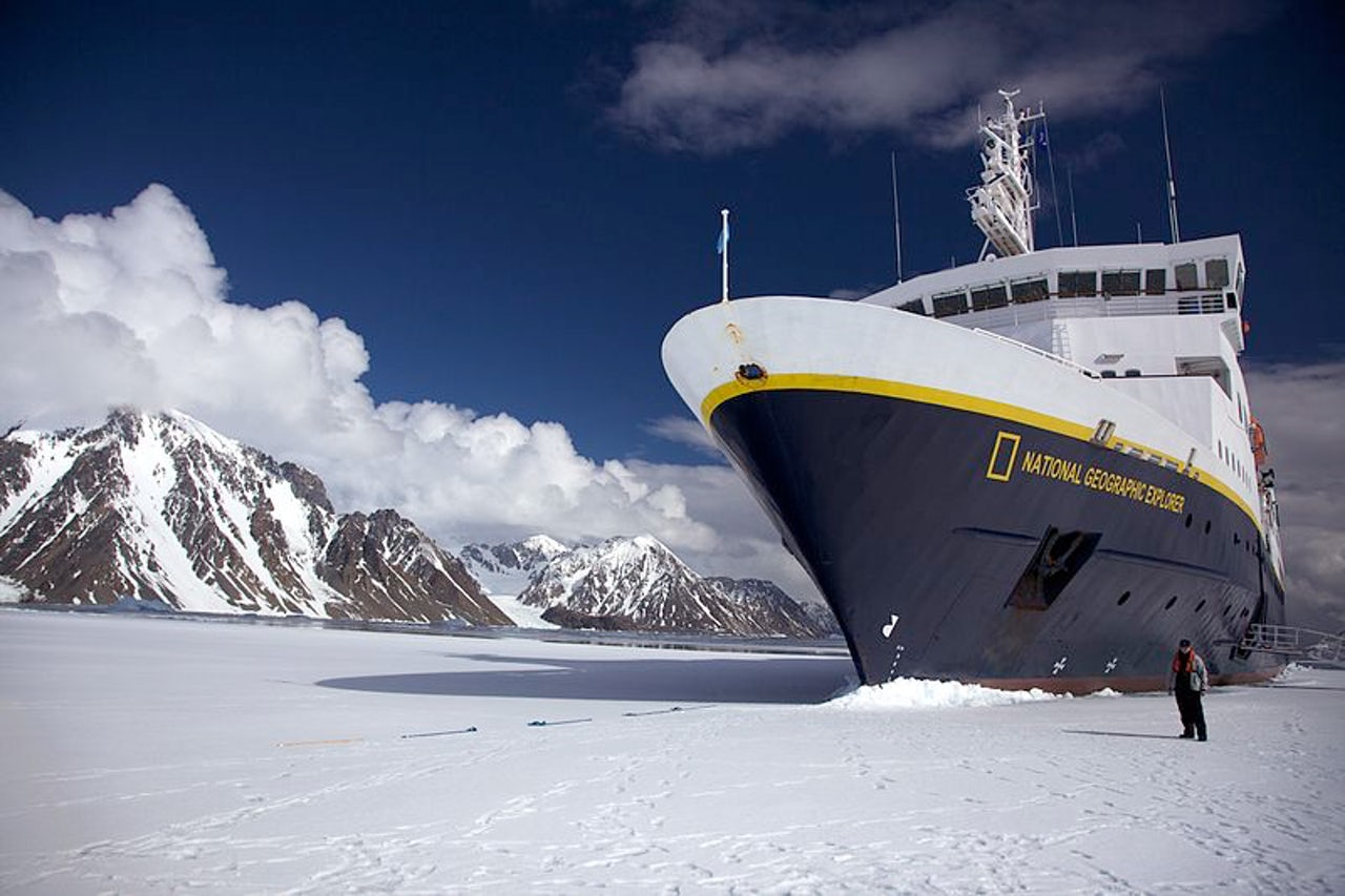 The National Geographic Explorer anchored in Antarctica.