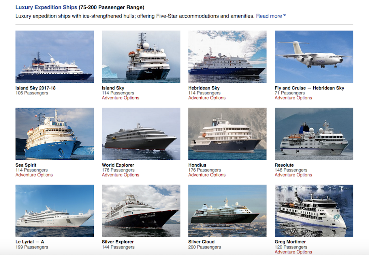 Screenshot of the Polar Cruises which shows a part of its selection of luxury ships.