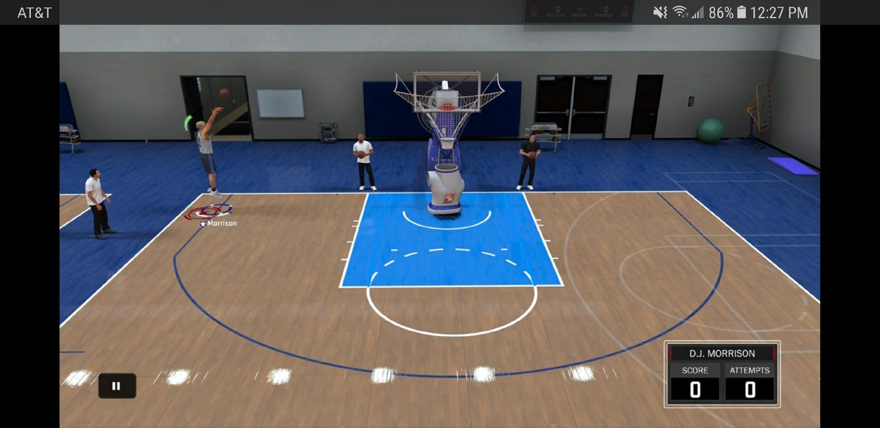 A player taking a shot in NBA 2K.