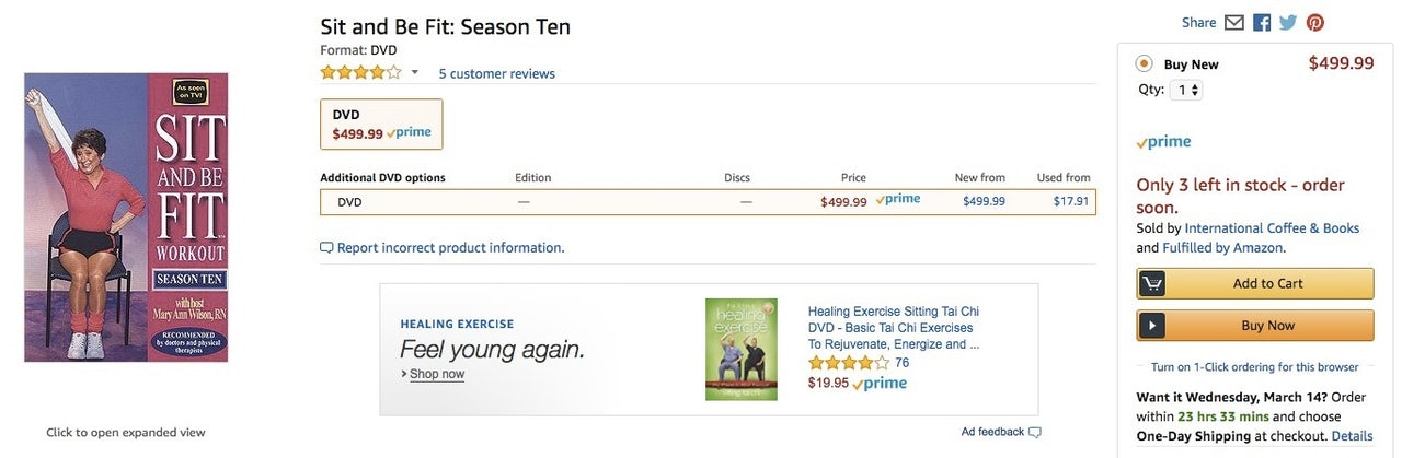 The Amazon listing for Sit and Be Fit Season Ten.