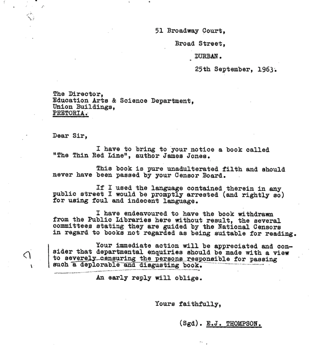 A 1963 letter demanding that The Thin Red Line be banned.