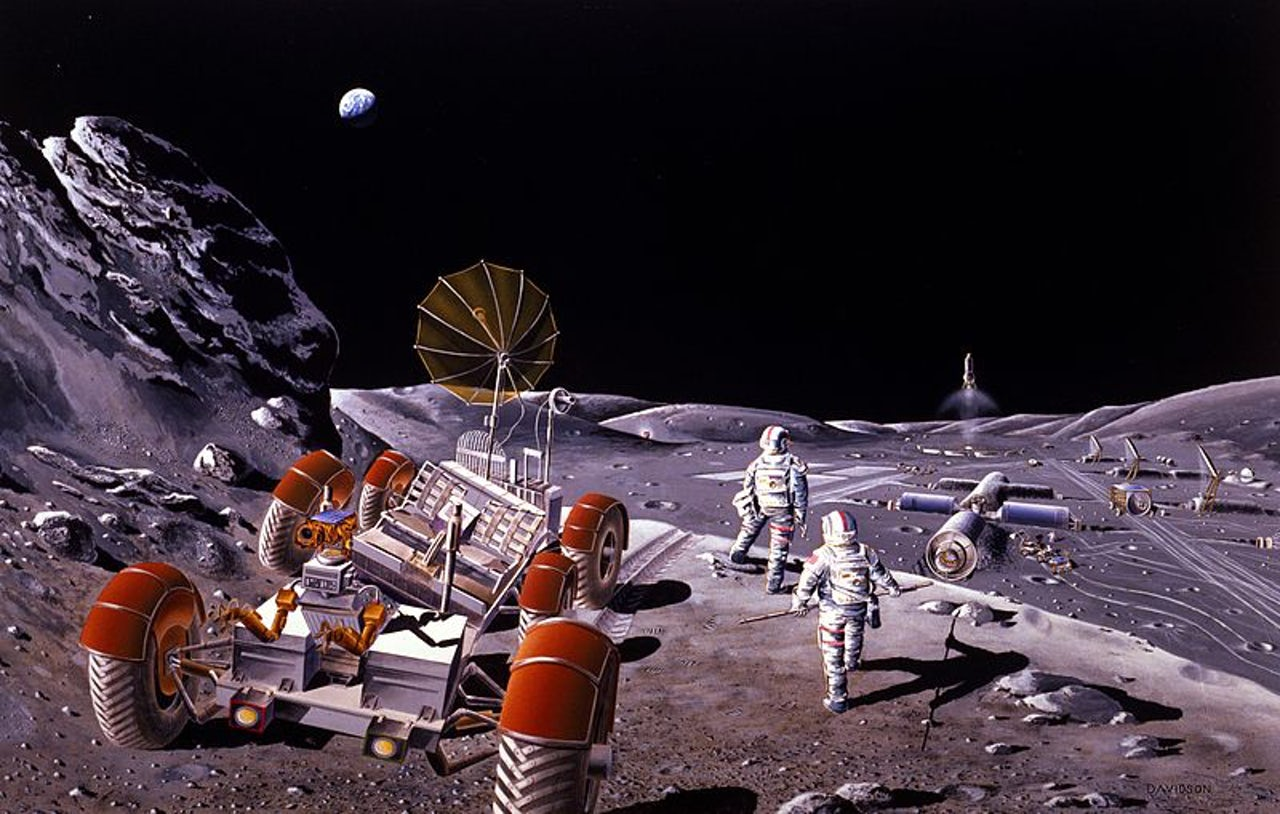 An artist's depiction of a lunar settlement.