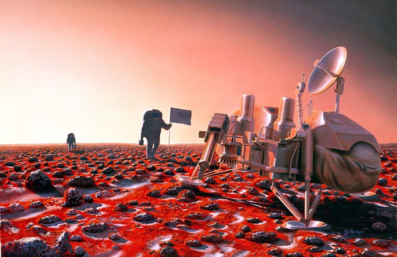 An artist's depiction of a Martian astronaut.
