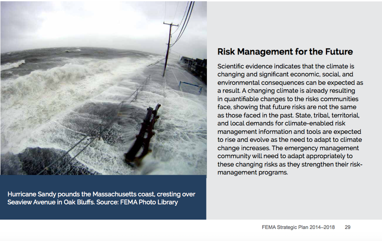 A screenshot from the FEMA 2014-2018 Strategic Plan, which mentions