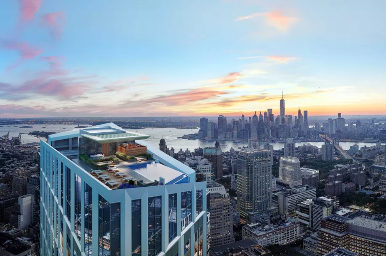 Computer rendering of the infinity pool that will sit atop Brooklyn Tower.