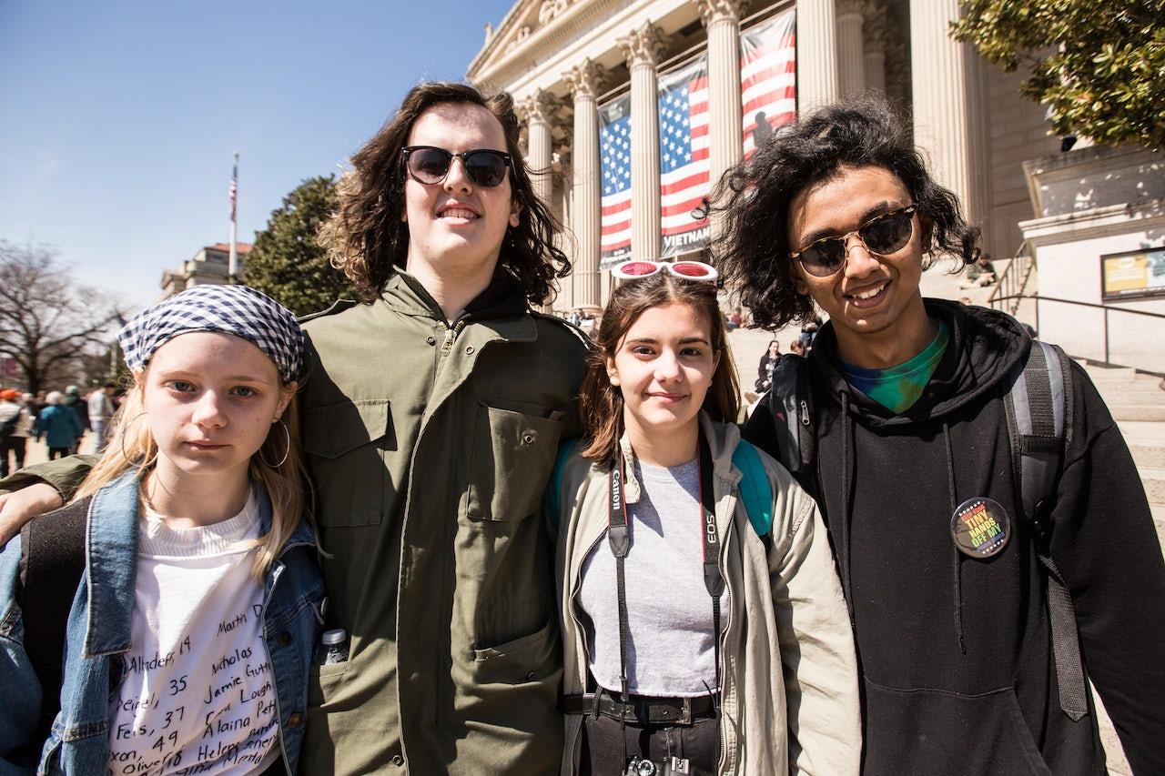 Left to right: Emma Whitney, 16; Benjamin Carpio, 19; Clara Whitney, 15; and Kirti Pandey, 15, from Washington, D.C.