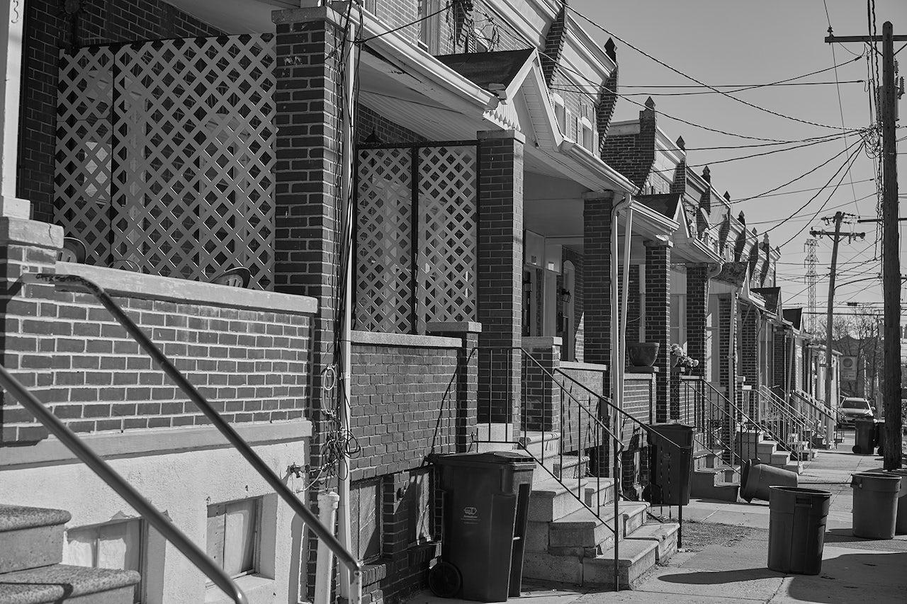 Rowhouses in the Westmoreland neighborhood of Wilmington.