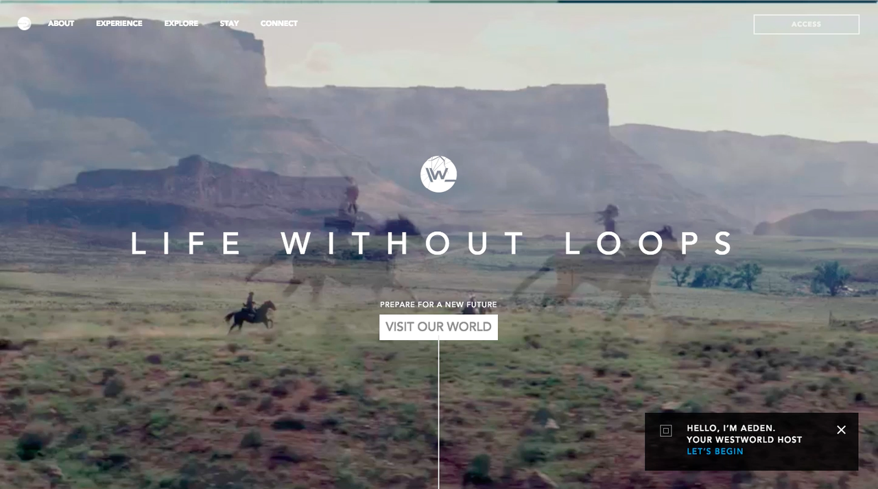 DiscoverWestworld's new homepage.