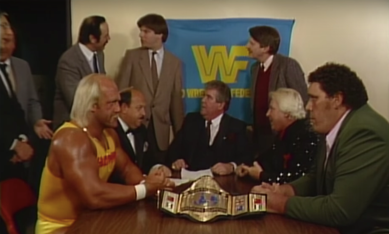 Andre and Hogan sign a contract for their 'Wrestlemania III' match.