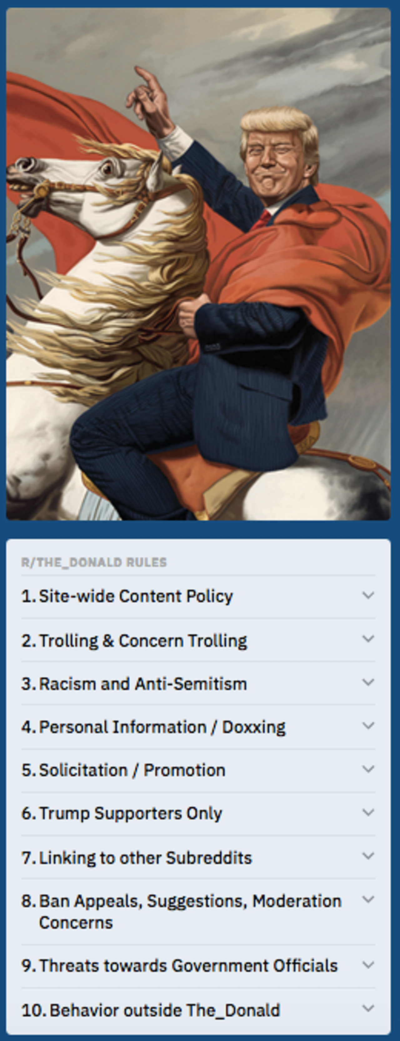 The rules for /r/The_Donald include clauses about cross-linking and harassment.
