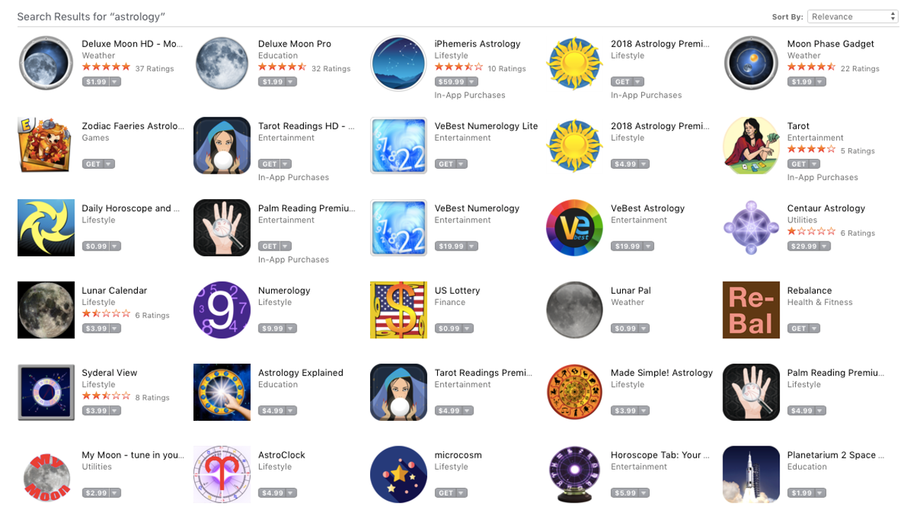 A selection of the dozens of astrology apps available in the iOS App Store.
