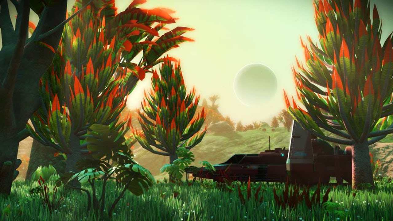 Exploring a serene world in No Man's Sky.