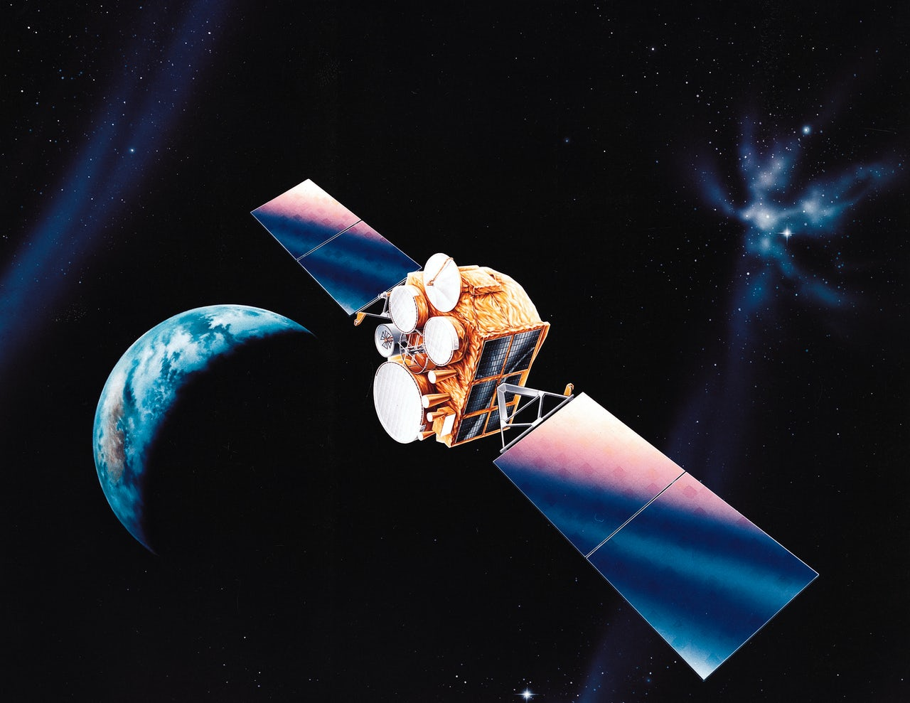 An artist's depiction of American Defense Satellite Communication System satellites.