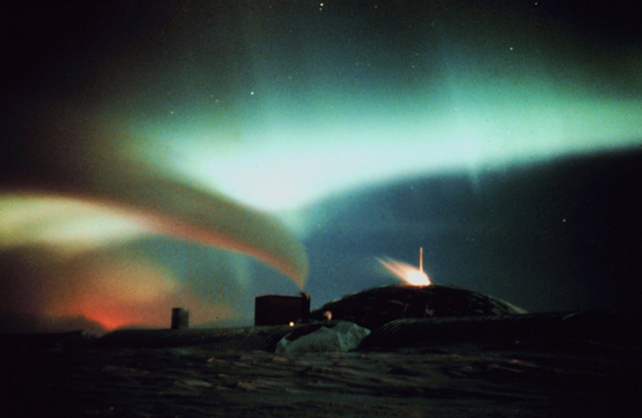 An aurora above U.S. Antarctic station at the South Pole.
