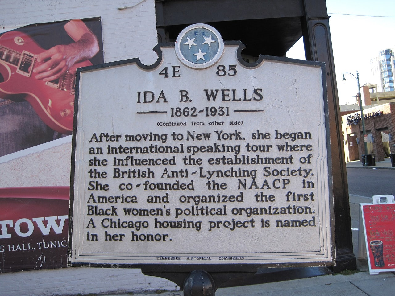 A historical marker about Wells in Memphis, TN.