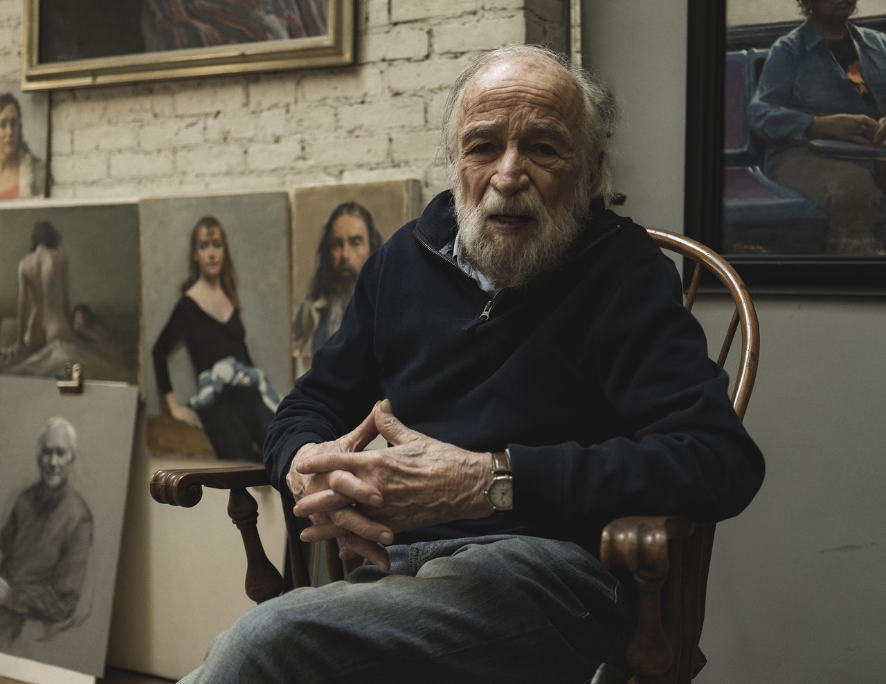 Burton Silverman, photographed in his studio in 2018.
