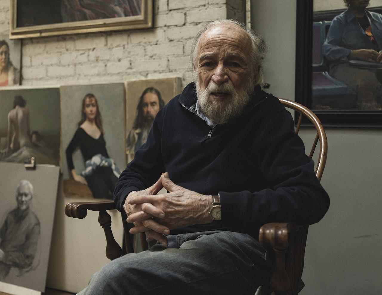Burton Silverman, photographed in his studio in 2018.