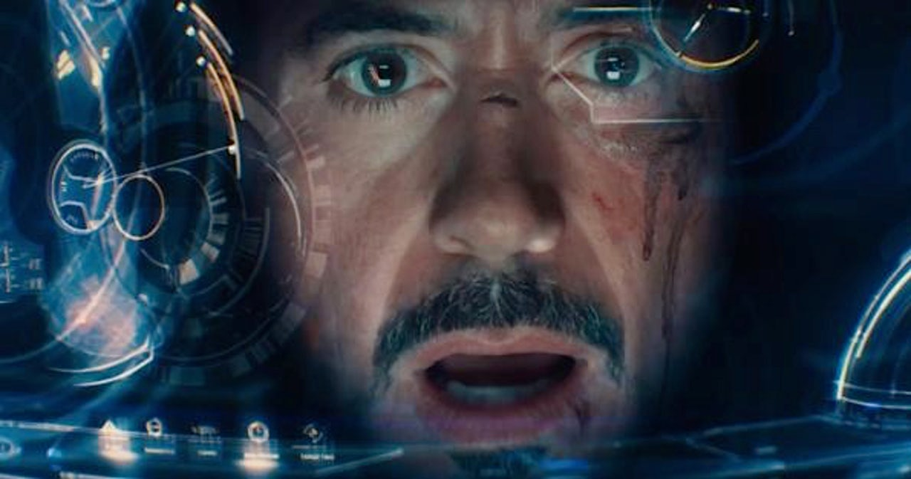 Iron Man, surprised by something.