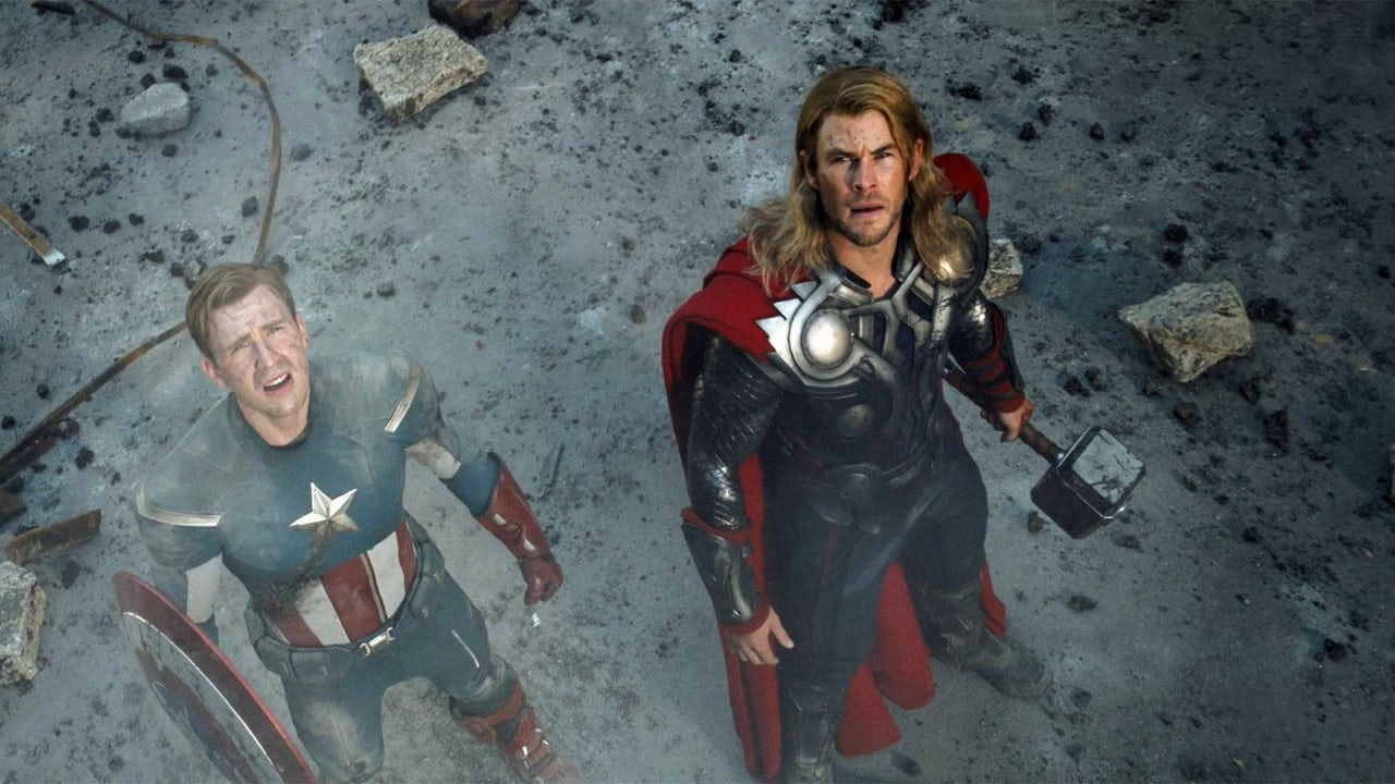 Thor and Captain America looking up at something