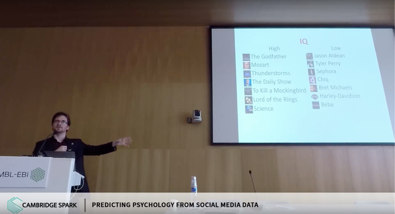 Researcher David Stillwell presenting at the Cambridge Data Science Summit in June 2017 about deriving conclusions about a person's IQ from their Facebook likes.