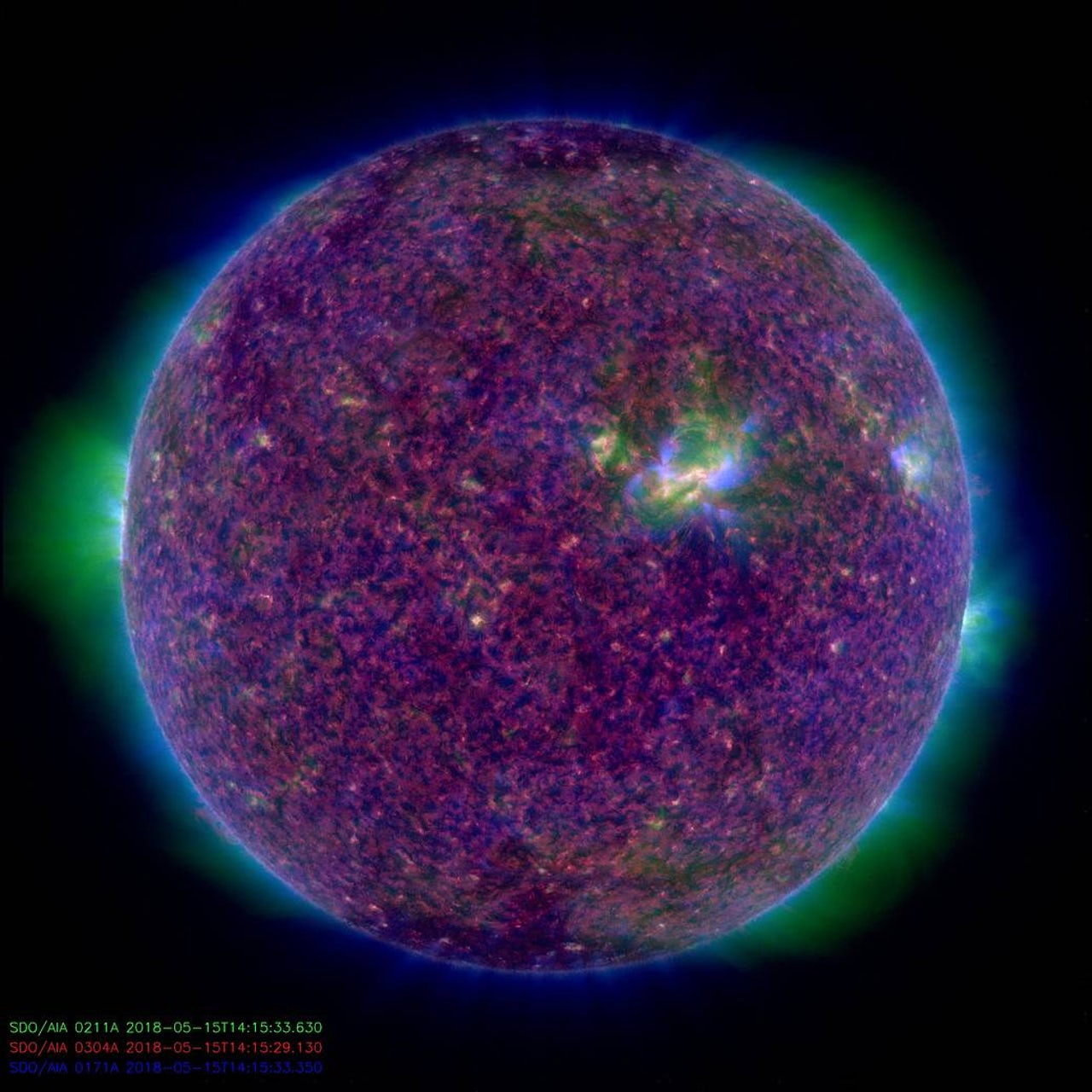 An image of the sun released on May 15, 2018, combining data from three ultraviolet wavelengths.