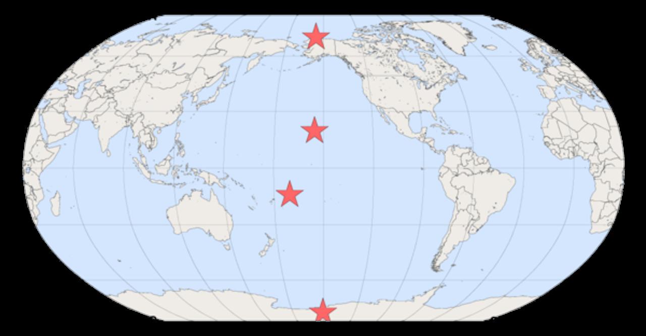 NOAA has global monitoring observatories in Alaska, Hawaii, American Samoa, and Antarctica.