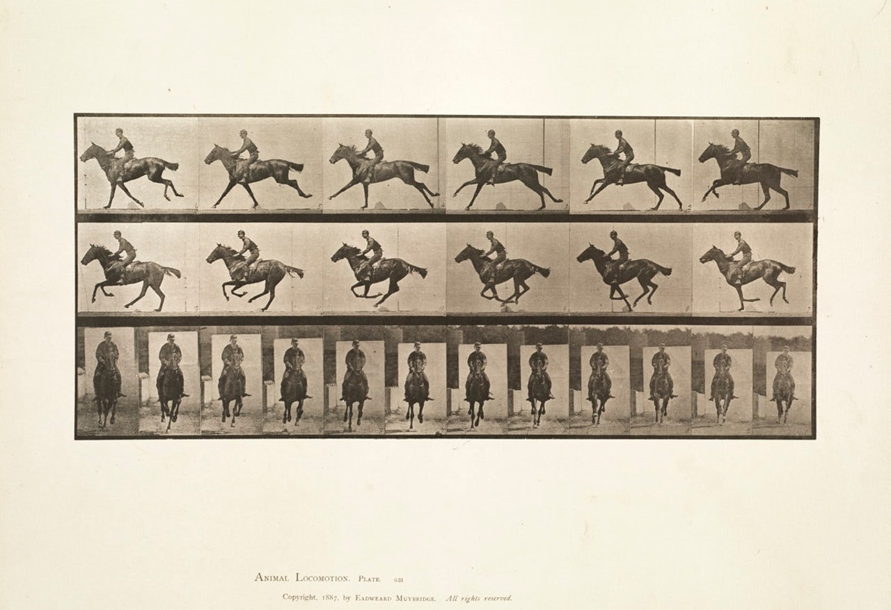 From Eadweard Muybridge's experiments with capturing moving images on film.