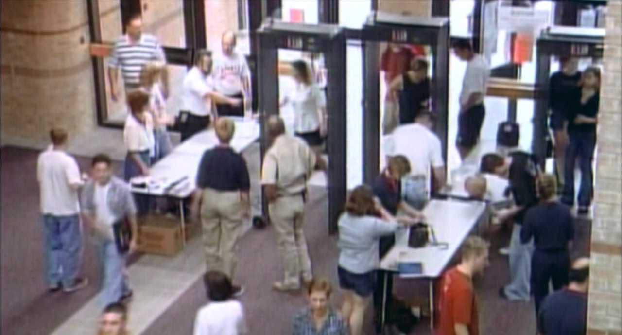 Metal detectors at the entrance of Allen High School after Columbine.