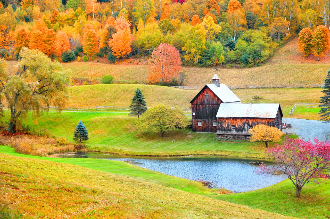 Classic red barn in rural Vermont.