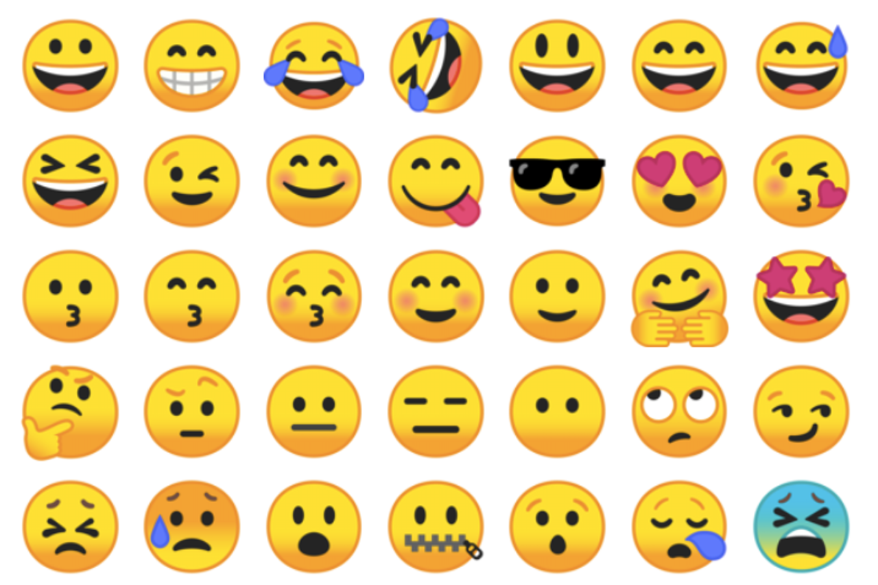 The gradients of Google's face emojis are typically darkest at the bottom.