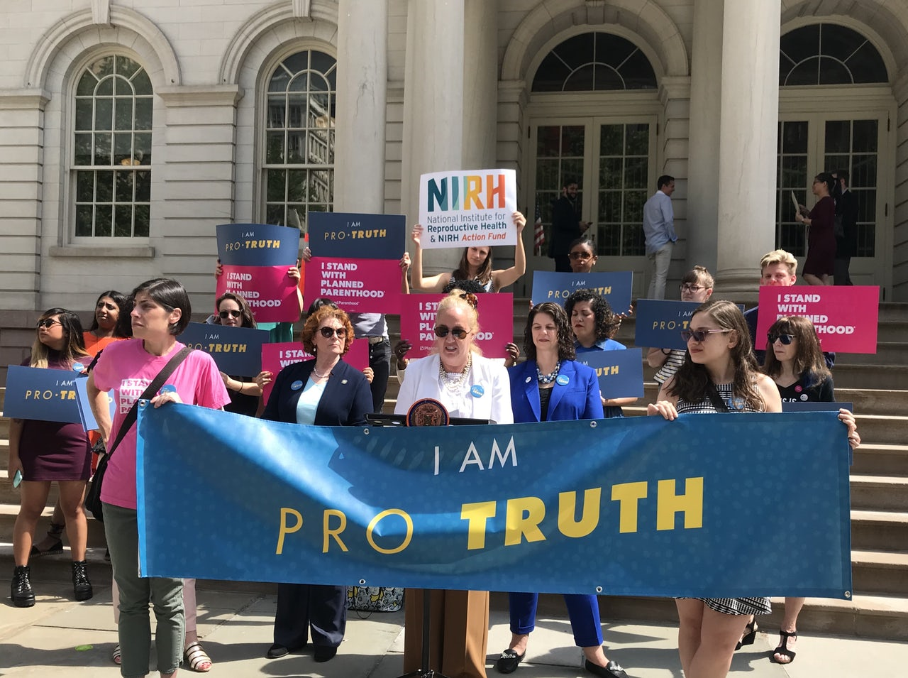 Manhattan Borough President Gayle Brewer speaks at the Pro Truth press conference outside of New York City Hall.