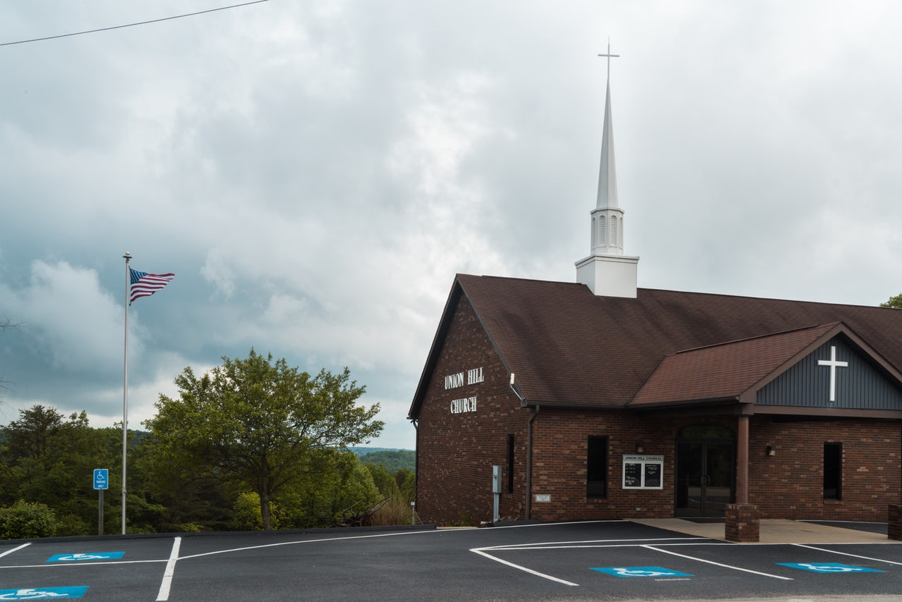 Union Hill Church sits atop a hill near the James A. Rhodes Appalachian Highway.