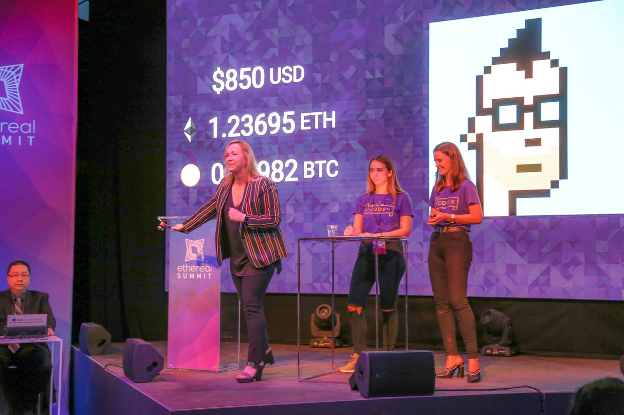 A cryptopunk being auctioned
