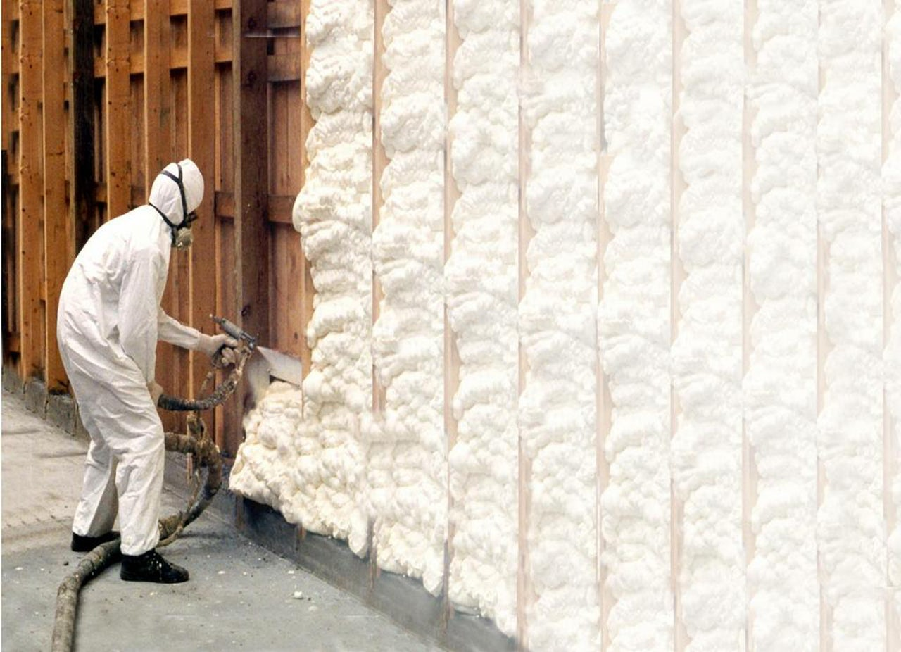 Polyurethane foam, applied using a can or spraying applicator, is a low-cost method of insulating homes.