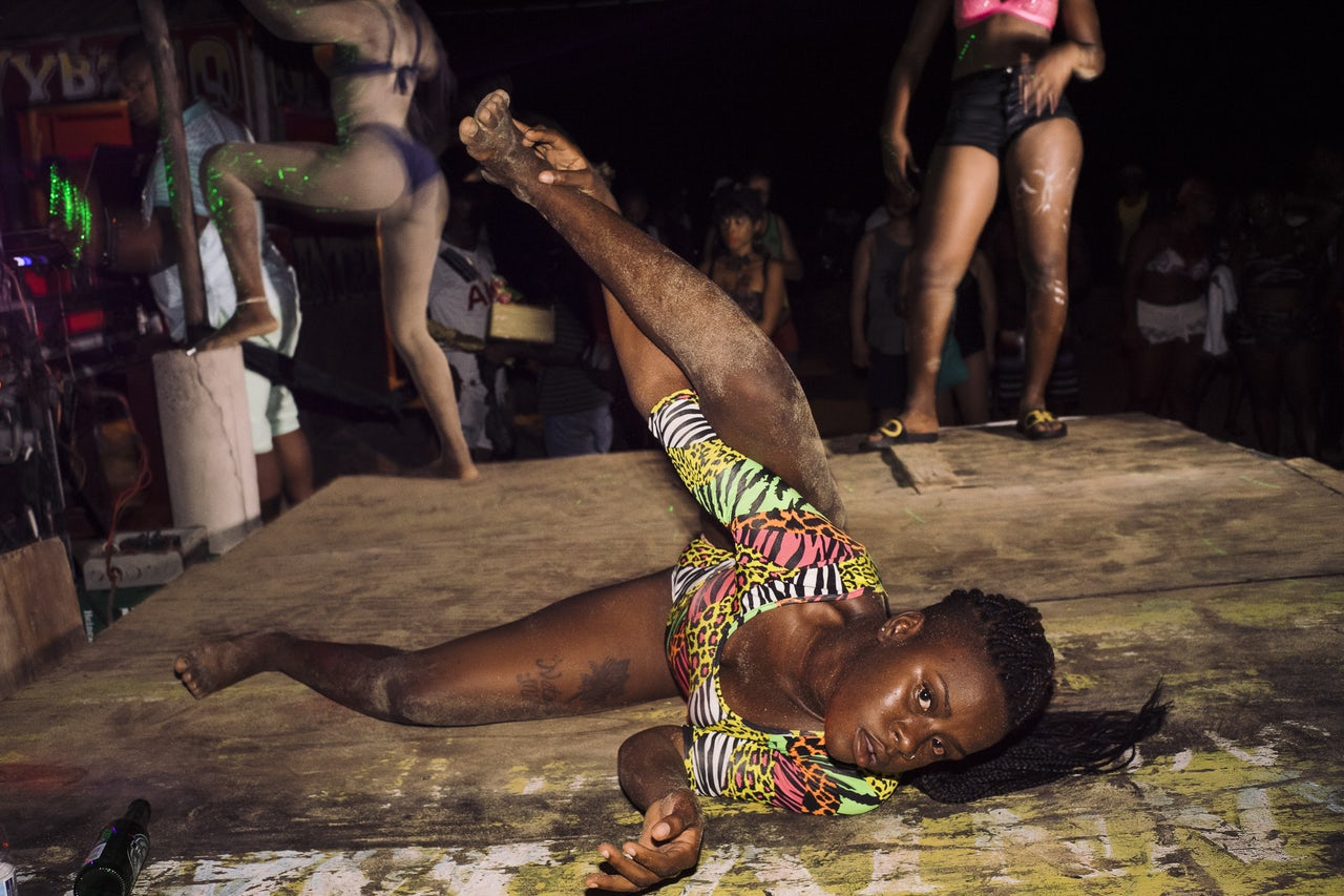 Katrina dances on stage at Hellshire Beach in Portmore.