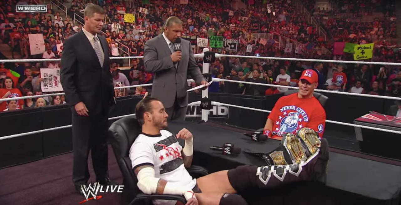 CM Punk and John Cena square off in an episode of 'Monday Night RAW.'