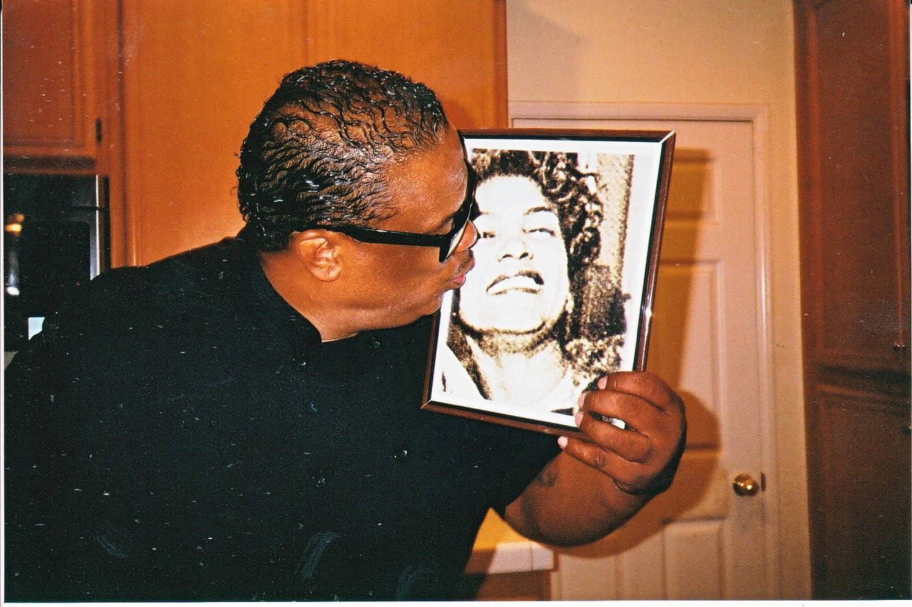 Chef Ron kisses a photo of his late mother, Pat.