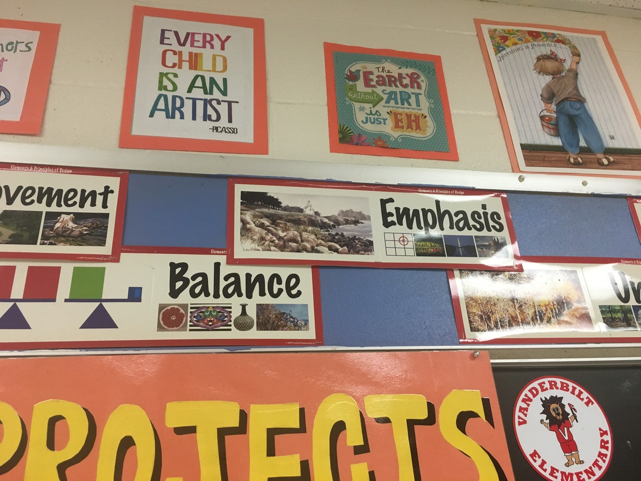 Posters in Mrs. Brunhuber's art class.