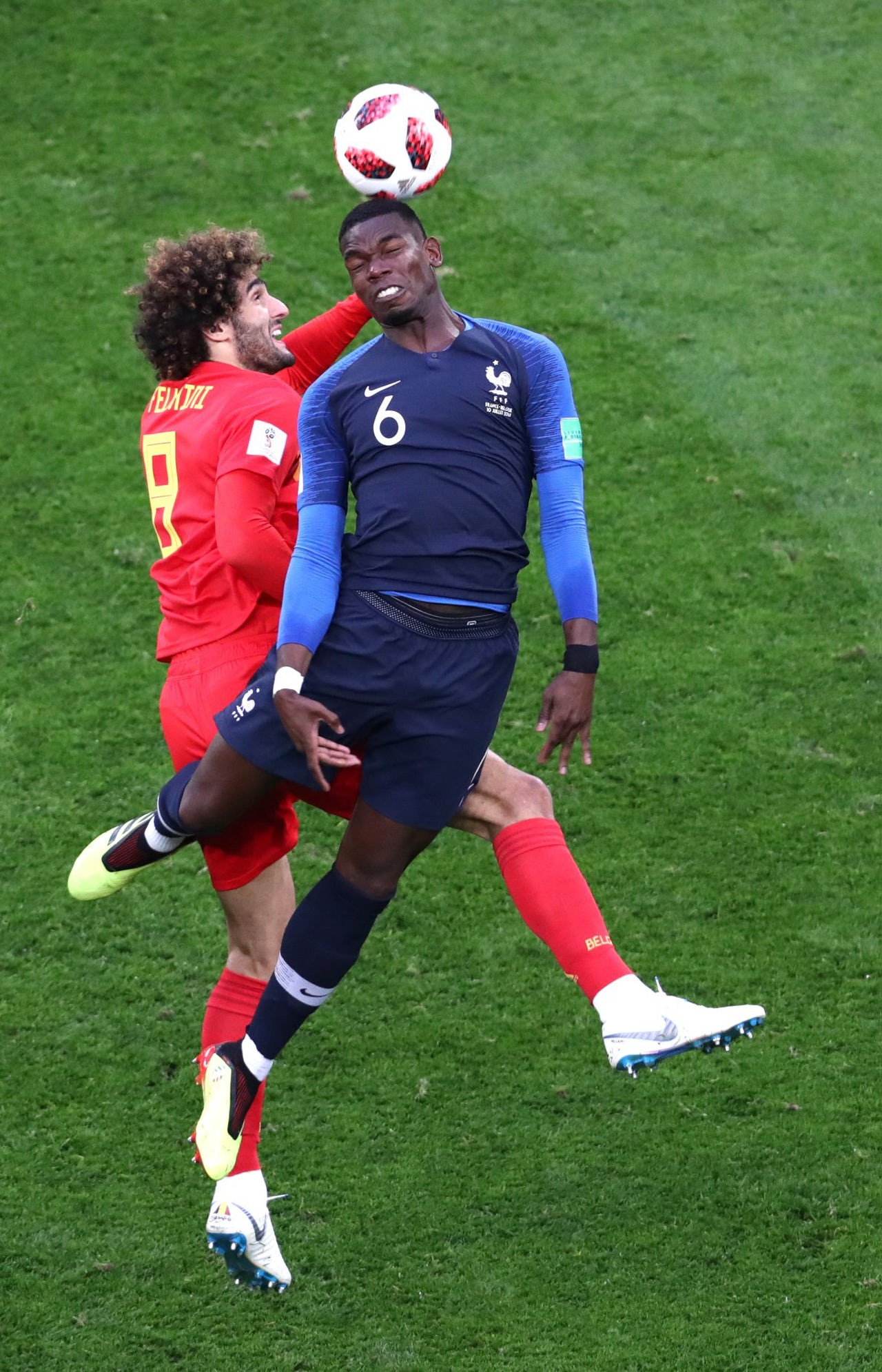 Paul Pogba heads the ball during the France vs. Belgium World Cup Game.