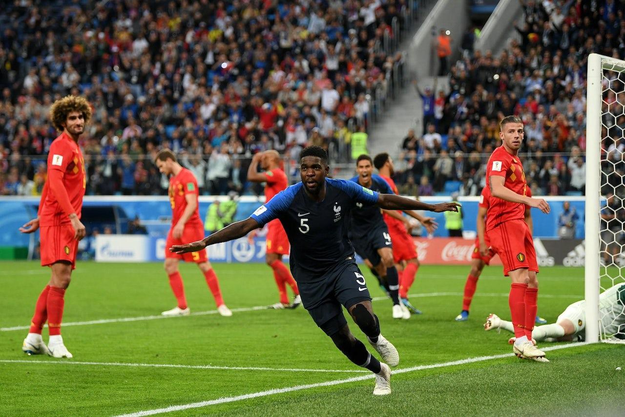 France's  Samuel Umtiti celebrates a goal against Belgium.