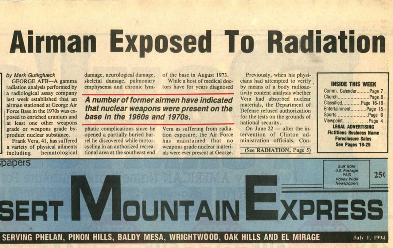 Radioactive contamination at the George Air Force Base