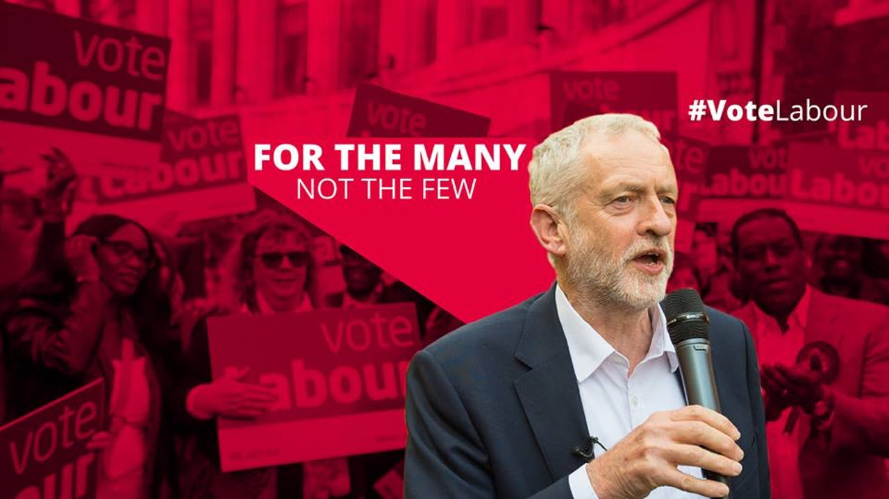 The header image of Jeremy Corbyn's official Facebook profile on May 1, 2017.