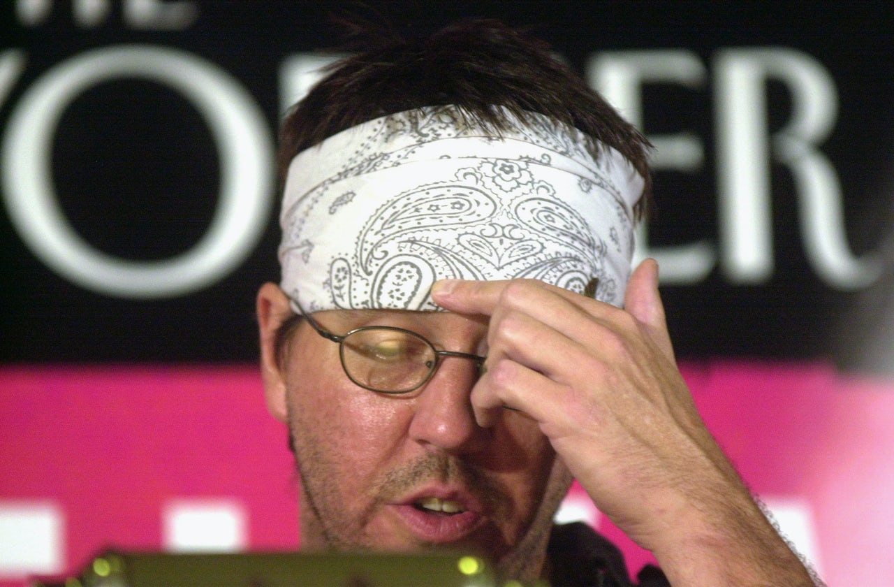 David Foster Wallace reads selections of his writing during the New Yorker Magazine Festival in New York September 27, 2002.