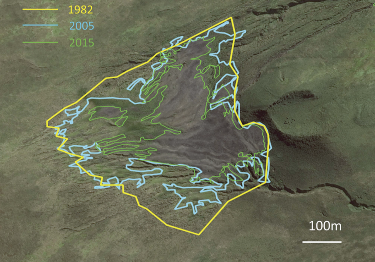 The boundaries of the king penguin colony in 1982 (yellow), 2005 (blue), and 2015 (green).